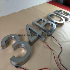Im Freien verwendetes LED Backlit Zeichen des Pinsel-fertiges Edelstahl-3D