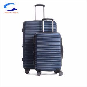 China Mayorista de fábrica de forma espiral de color azul marino de la superficie ampliable ABS 20 8 de la rueda de giro Hard Shell Maleta de Viaje de bloqueo de la TSA Equipaje carro rodante Hardside