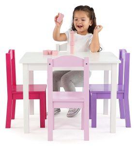 جدي خشبيّة طاولة & 4 كرسي تثبيت يثبت (بيضاء/لون قرنفل/أرجوان)