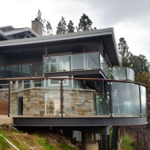 Balcon balustrade en verre en acier inoxydable avec Post rondes en acier inoxydable