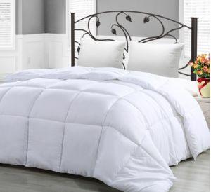 Coperta bianca leggera termica lussuosa molle del tessuto di cotone giù con il tessuto di raso