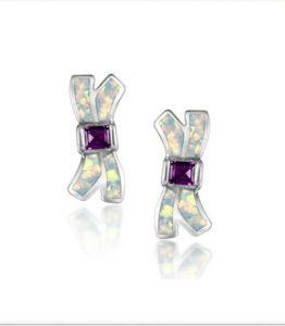 925 orecchini dell'argento sterlina con l'opale (LOP1098)