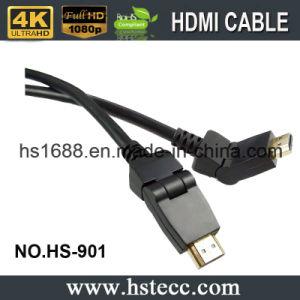 HDMI에 HDMI 180 도 자전 선회 회전대 케이블 검정