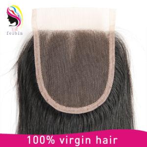 Comercio al por mayor humano brasileño Virgen Secador de cabello ondulado 4*4 Cierre de encaje