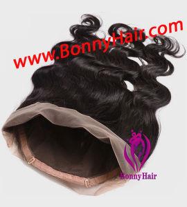 伸縮性がある調節可能なベルトの赤ん坊の毛の自然なカラーのペルーのバージンの人間の毛髪360のレースの前部閉鎖