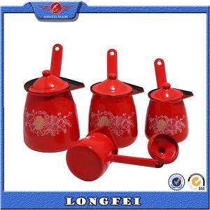 9/10/11/12cm 4PCS는 뚜껑을%s 가진 빨간색 사기질 커피 온열 장치 남비를 놓았다