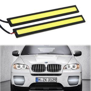 Rojo Azul Blanco Color Amarillo 2 PCS conjunto resistente al agua de alta potencia de aluminio de 6W 6000k Xenon Slim COB DRL Lámpara LED de luz de día de conducción diurna