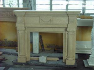 Graniet/de Marmeren Open haard Mantle/Mantels van het Standbeeld met Elektrische Open haard voor Binnen (SC034)
