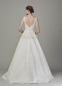 Quadratischer Ausschnitt-Sleeveless Hochzeits-Kleid mit der Spitze Appliqued auf die Oberseite