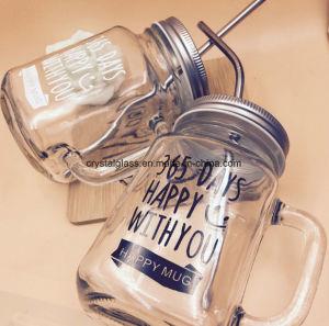 Drucken-Maurer-Glas-Raum-Glasglas mit Stroh und Griff