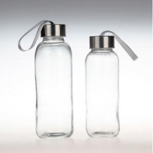 Heiße Glaswasser-Flasche des Verkaufs-300ml 420ml mit Edelstahl-Schutzkappe