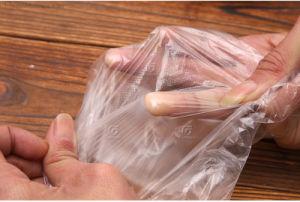 Restaurante Oilproof impermeável descartável Grau Alimentício Seco Eaxm transparente de trabalho de segurança médica PE/LDPE/HDPE/EPT/CPE luvas do lado de plástico para casa e Utilização da Cozinha