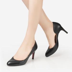 Stiletto zapatos de cuero negro de la mujer zapatos de tacón alto