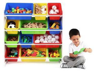 خشبيّة خزانة لعبة تخزين أطفال أثاث لازم مع 12 خانة بلاستيكيّة سعر جيّدة