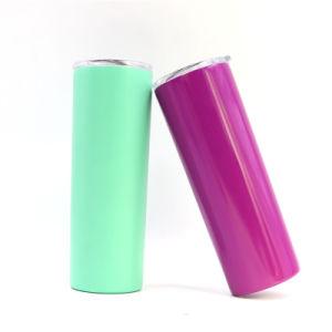 カスタマイズされた二重壁によって絶縁されるステンレス鋼のタンブラー、カラー緑のわらが付いている20オンス、