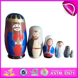2016 Brinquedo de madeira colorido da Rússia, brinquedo de muletas de madeira Matryoshka, brinquedo intelectual de madeira do bebê W06D038