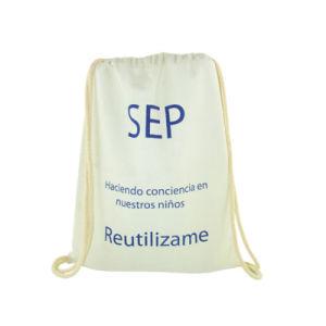 Nouvelle tendance écologique en toile de coton de marque personnalisée Sac avec lacet de serrage
