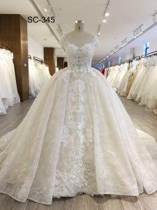 모자 소매를 가진 신부 복장을 Wedding 2018년 Alibaba 결혼 예복 신부 드레스 Champagne