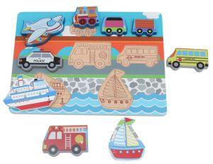 3D Vehical madeira Puzzle brinquedo com grandes blocos de puzzles forte