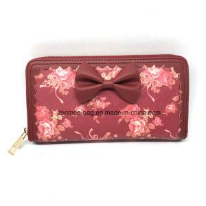 Parte superior Lcq-27 que vende a impressão a mais atrasada da flor do couro do plutônio Fechar-Em torno da carteira das mulheres da embreagem da bolsa da forma