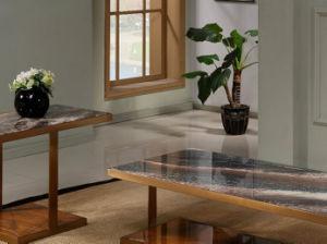 Square Table à café avec la nature haut de marbre et de base en acier inoxydable