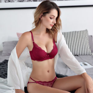De estilo francés Sexy Push up Bra Panty Set deep-V de estilo de verano