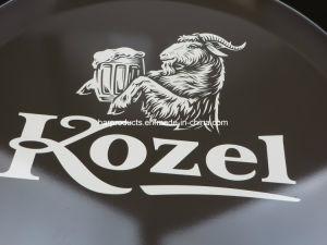 Comercio al por mayor estaño al servicio de bar con forma redonda grande decorativos bandeja cerveza