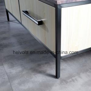 7 gesundheitlicher Ware-Badezimmer-Bassin-Zubehör-Schrank-Badezimmer-Möbel-festes Holz Kurbelgehäuse-BelüftungMDF mit Spiegel-Edelstahl-Badezimmer-Eitelkeit