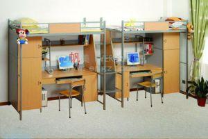 Fer et bois bon marché school student dortoir lit superposé avec