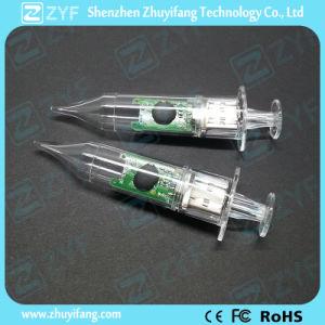 Прозрачный пластмассовый шприц флэш-накопитель USB с логотипом (ZYF1815)