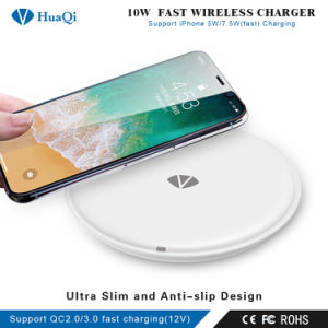 2018 Últimas Qi Wireless Ultra Slim Fast Cargador de teléfono/Carga Pad para iPhone X/8/8 Plus de Samsung S9/S8/S8 Plus/Nota 8
