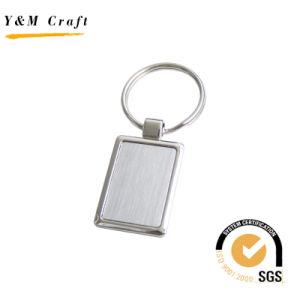 Liga de zinco quadrado branco Keyring com Matt revestimento prateado YM1002