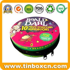 CD/DVD de la Ronda Tin Box Caja de estaño de almacenamiento de metal con cremallera