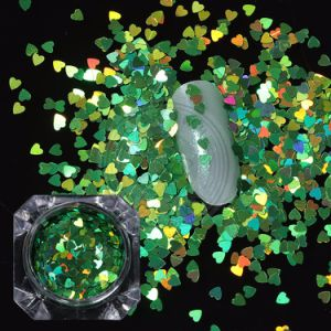 Decorazione esagonale dei fiocchi del cuore di scintillio del laser Holo di arte del chiodo