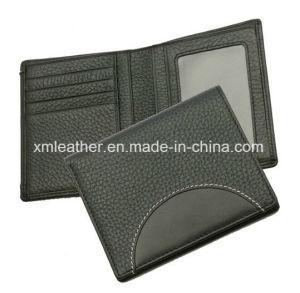Carpeta Bifold de los hombres de negocios de la ventana de cuero de la identificación con insignia