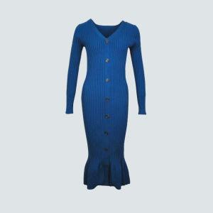 Le bouton jusqu'à long Rib Knit Cardigan pour les femmes