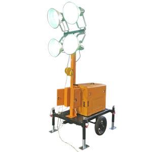 Tour d'éclairage de groupes électrogènes mobiles avec des roues