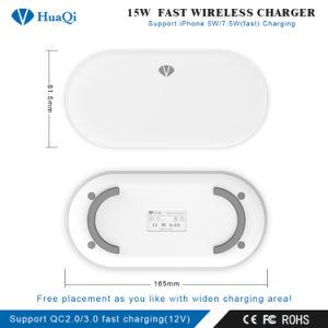 強力な15Wは絶食するiPhoneかSamsungまたはHuawei/Xiaomi (4つのコイル)のためのチーの無線可動装置か携帯電話の充満ホールダーまたはパッドまたは端末または充電器