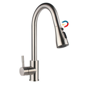 Aquacubic magnético Cupc saque de arco alto niquel cepillado grifo de cocina, 3-Función de la tobera pulverizadora la boquilla del modo Aquablade