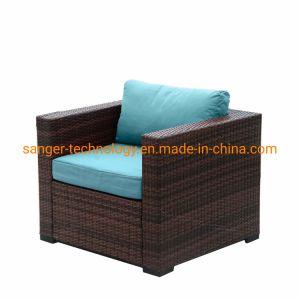 Patio Wicker única cadeira com almofada de olefinas azul resistente à água Mobiliário de exterior para todos os climas Poltrona de vime resina Poolside, Varanda, Jardim (1 peça)