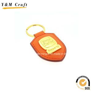 금 도금 새겨진 PU 열쇠 고리 승진 Ym1041