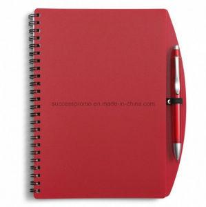 Tampa de plástico PP personalizado Agenda Espiral com caneta de notebook