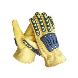 Cuero de Oveja de color amarillo TPR No Lining Seguridad Guantes de trabajo mano