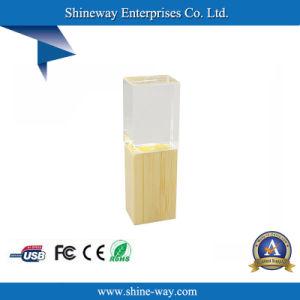 Фонарик бамбук кристально чистый диск USB с индивидуального логотипа
