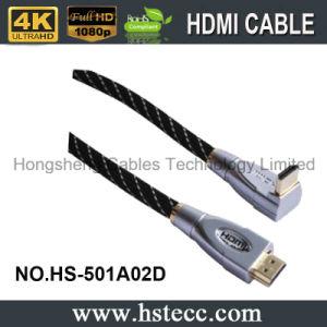 금속 HDMI는 남성 90 도 케이블의 아래 이중으로 한다