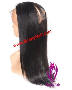 伸縮性がある調節可能な絹のまっすぐなインドのバージンの毛の人間の毛髪を搭載する360のFrontalのレースの閉鎖
