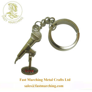 주문 기타 뜨 형식 아연 합금 3D에 의하여 새겨지는 Keychains
