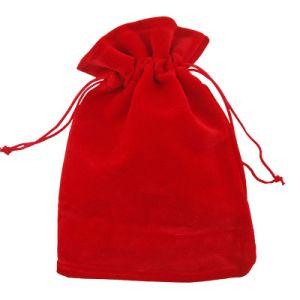 Rouge Pochette cadeau velours plat coulisse le commerce de gros emballages réutilisables pochette de velours (CVB-1167)