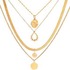 Metálica de acero inoxidable chapado en oro de la superposición de collar Artesanal de bisutería de diseño de regalo