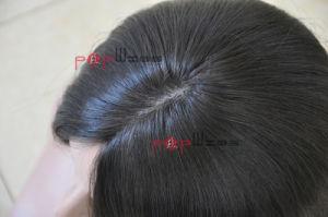 バージンのRemyの膚触りがよくまっすぐな毛の絹の上のユダヤ人のかつら(PPG-l-01319)
